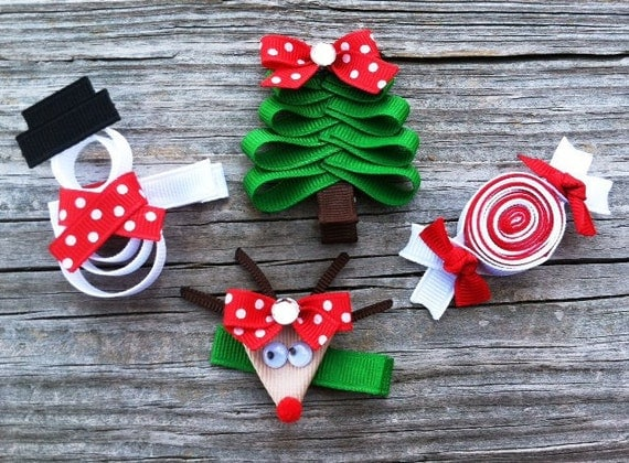 Christmas Hair Clip Set Holiday Hair Clip Set Christmas Tree - Christmas Tree Hair Bows