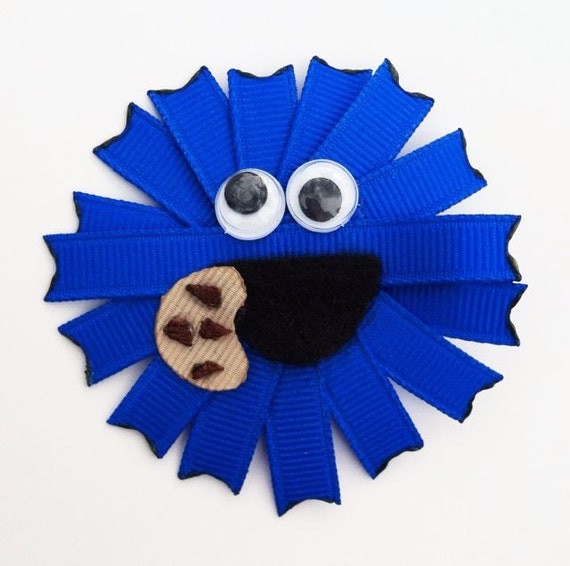 Cookie Monster Inspired Ribbon Sculpture Hair Clip.. Free Shipping on orders of 15 dollars or more