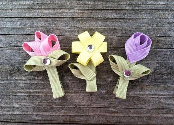 Flower Hair Clips - SET OF 3 - Spring Hair Clips, Ribbon Flower Hair Clips, Toddler Hair Clips, Girls Hair Accessories,Toddler Hair Clip Set