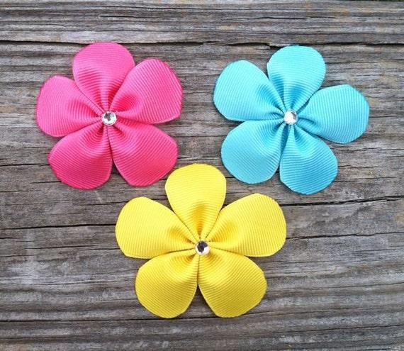 Hair Bows, Little Girls Hair Bows, Set of 3 - Tropical Flower Hair Clips, Toddler Hair Clips, Girls Hair Accessories, Summer Hair Clips