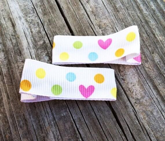 Polka Dots and Hearts Hair Clip Set, Toddler Hair Clips, Girls Hair Accessories, Little Girls Hair Clips, Polka Dotted Hair Bows