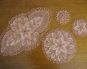 Handmade Doilies-Set of 4, peach