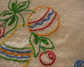 Festive Hand Embroidered Dish Towel