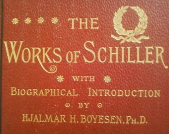 Antiquarian Schillers Greatest Works in Full Leather 4 Complete Volume Set 1885-1895