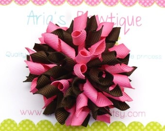 Hot Pink And Brown Korker Hair Bow