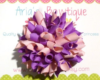 Light Pink And Lavender Korker Hair Bow