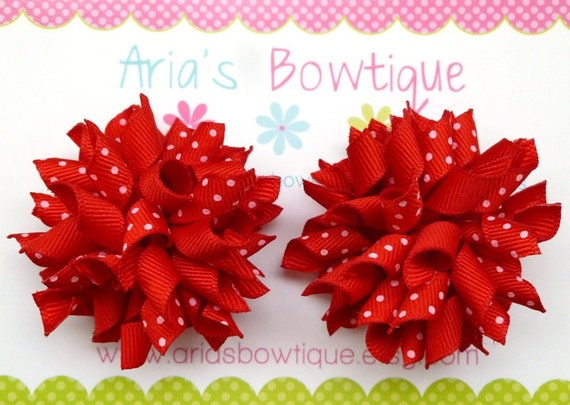 A Pair Of Strawberry Red Mini Korker Hair Bows