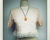 Handmade Tea Stained Lacy Crop Top