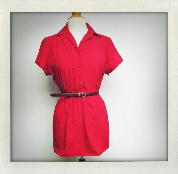 Cherry Red Altered Vintage Mini Shirt Dress Sm