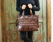 Reserved for Alexis  Handmade, Brown, Tote, Chocolate Brown Leather, Jacqueline Tote, Upcycled, Recycled, Purse, Bag, EcoFashion, Free Shipping, VintageChase on Etsy