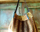 Woven Brown Leather and Tapestry Inspired Hobo