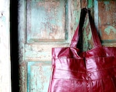 Handmade Red Leather Purse or Tote, Upcycled from Red leather Trench Coat