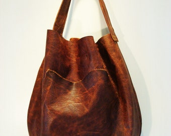 Leather Hobo, Handbag, Vintage Leather, Brown, Black Leather Hide, Womens, by VintageChase