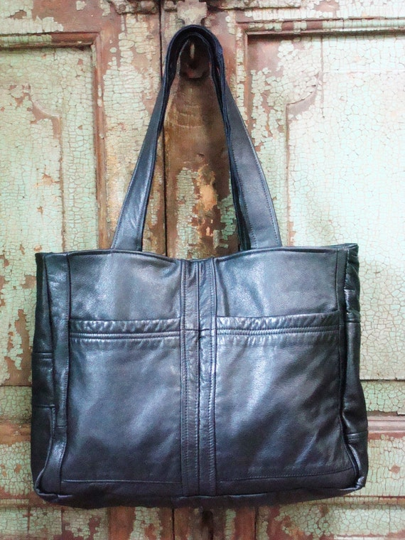 Bags, Purses, Black, Tote, Leather, Handmade,Upcycled, Repurposed, Vintage Leather,Laptop, Diaper Bag, VintageChase on Etsy