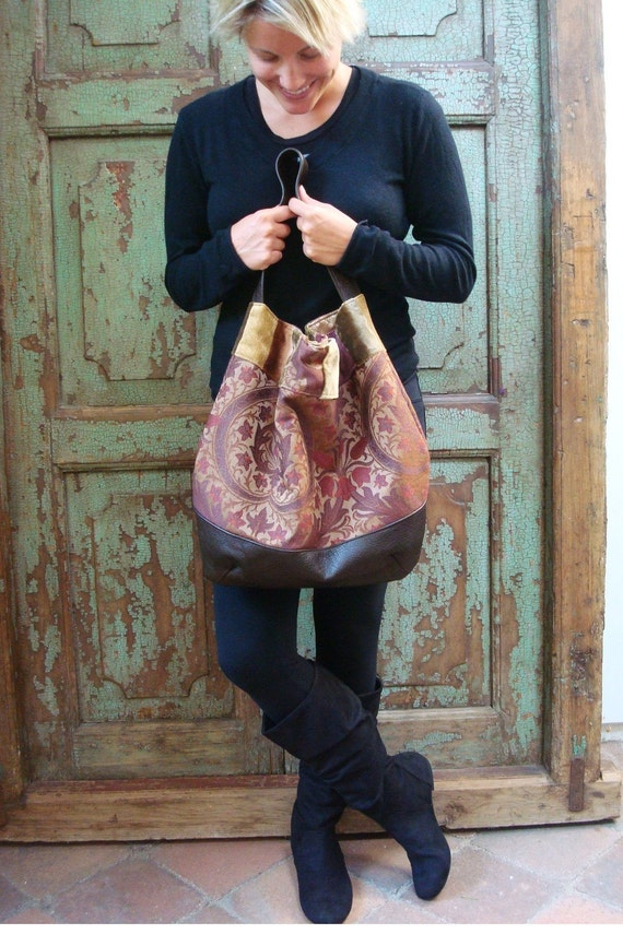 Handmade Brown Leather, Hobo, Plum, Green, Bag, Purse, Tapestry, Upcycled, Recycled, EcoFashion, Eco Friendly,  Fabric, Travel, Week-End, Carpet Bag, free shipping,  bags by VintageChase on Etsy