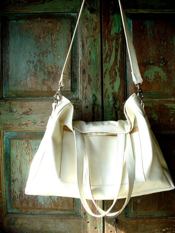 Handmade Summer White Leather Bag using an Italian Leather Hide