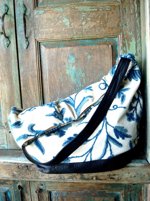 Handmade  Leather and Hand Made Crewel Blue and White Tapestry Hobo