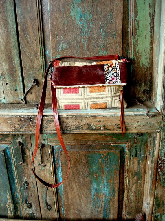 Handmade Leather and Fabric Foldover Clutch or Messenger Bag with Detachable Crossbody Handle