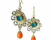 Flower Dangle Earrings, Upcycled Jewelry, Orange, Aqua