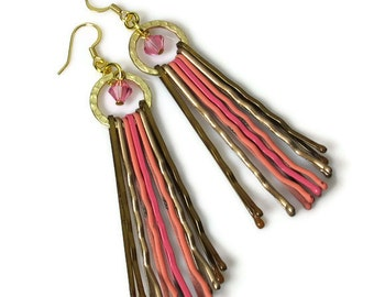 Pink Chandelier Earrings,  Unique Repurposed Recycled Upcycled Jewelry, Bobby Pin Jewelry