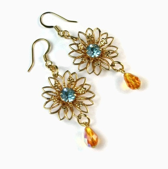 Handmade Earrings - Aqua Topaz Flower Dangles