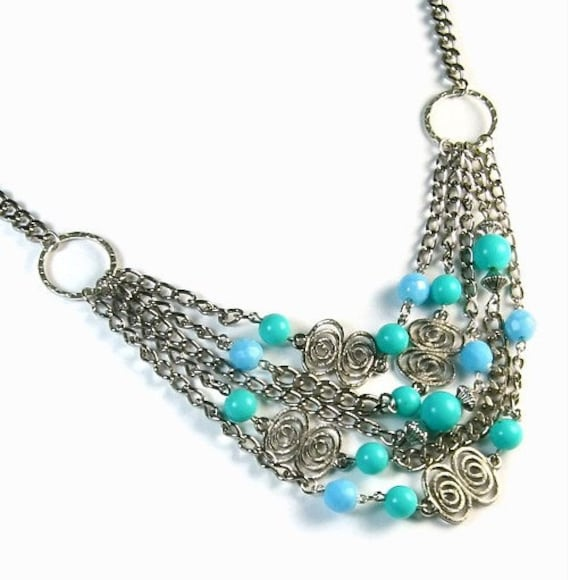 Cockatoo Blue Turquoise Upcycled Necklace