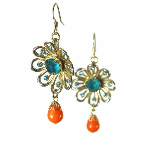 flower dangle earrings upcycled jewelry orange aqua