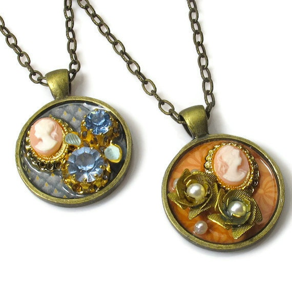 Vintage Collage Pendants, Mother Daughter Jewelry