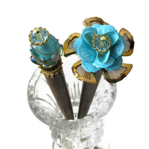 Turquoise Aqua Vintage Flower Hairsticks, Hair Sticks For Long Hair