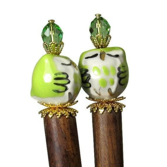 Cute Hair Sticks in Lime, Chartreuse, Long Hair Accessories, Owls