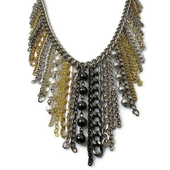 Upcycled Fringe Necklace, Waterfall Necklace