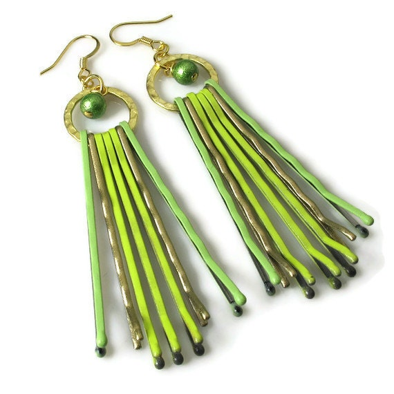 Lime Green Earrings, Upcycled Jewelry, Repurposed Bobby Pins
