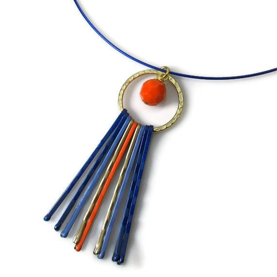 Mod Orange Blue Necklace Pendant