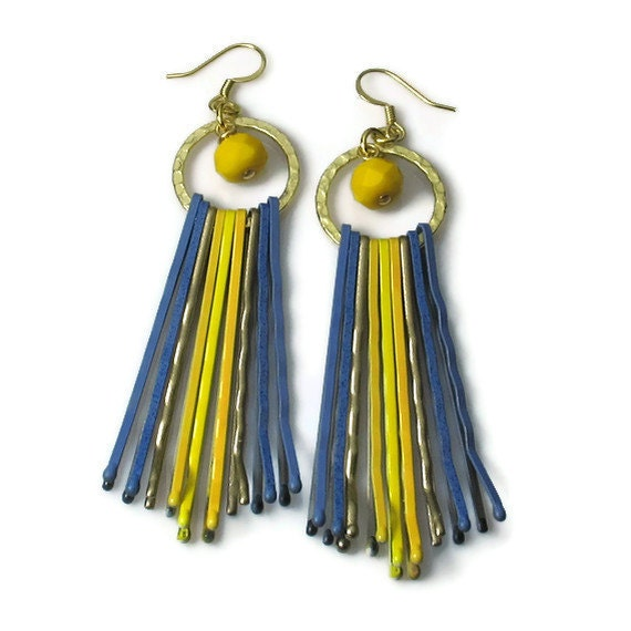 Unique Earrings, Upcycled Jewelry,  Yellow Blue