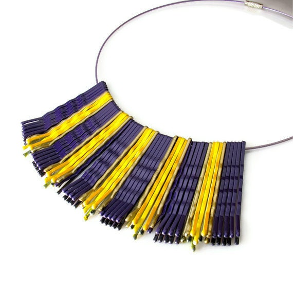 Purple Gold  Necklace, Upcycled Jewelry