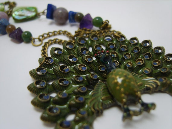 I'm a Peacock - necklace,pendant,bird,green
