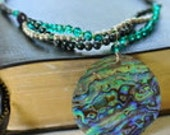 Abalone, Purple Sandstone, Crystal and Pearl Three Strand Entwined Sterling Silver Necklace