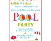PRINTABLE DIY - Personalized Beach Ball Pool Party Invitation