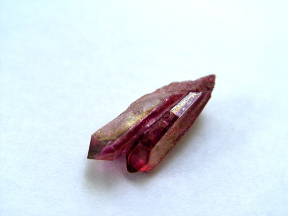 Attracts Soulmate and Love -  Twin Ruby Rose Aura Quartz Crystal Point