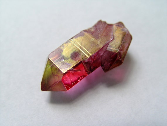 Ruby Rose Aura Quartz Crystal Point Pendant Point with Twin