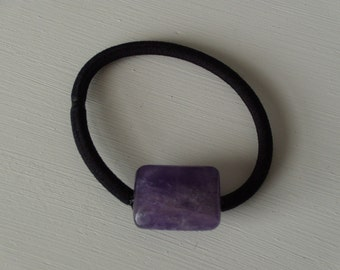 Purple amethyst ponytail holder