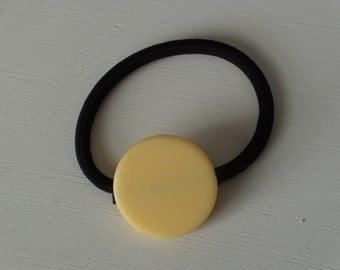 Yellow butter cream round resin bead, ponytail holder
