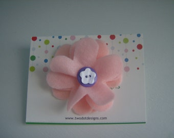 Pink large flower hair alligator clip with purple, yellow, blue, white, or any color layered buttons