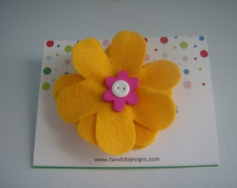 Golden yellow large flower hair alligator clip with white, pink, blue, orange, or any color layered buttons