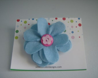 Blue large flower hair alligator clip with any color of layered buttons