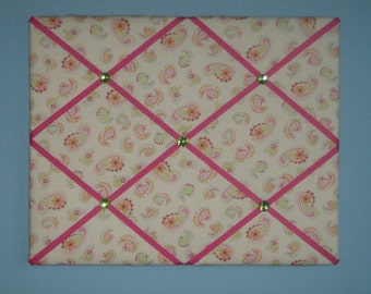 Paisley pink french memo board, 16 x 20