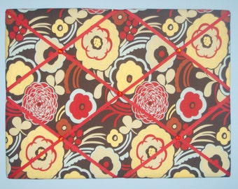 Brown, red, & yellow flower french memo board, 18 x 24, large