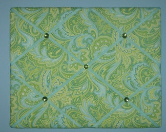 Green & blue paisley french memo board, 16 x 20