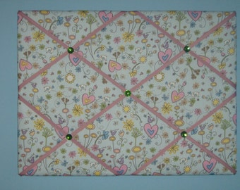 Bird, flower, & hearts french memo board, 18 x 24, large