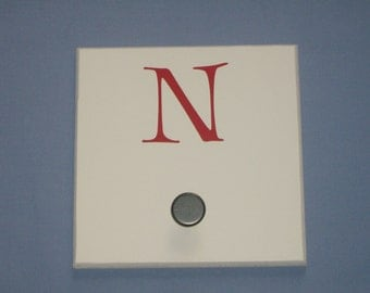 SALE: Letter N monogram initial, red, wall hook with bronze knob